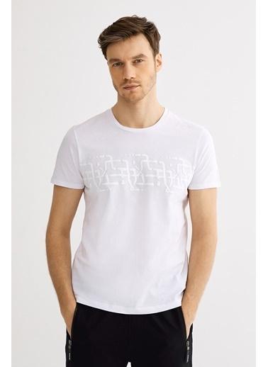 Avva Erkek  Bisiklet Yaka Baskılı Tişört A01S1257 Beyaz